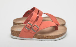 Ladies Red Leather Flat Sandals Mules