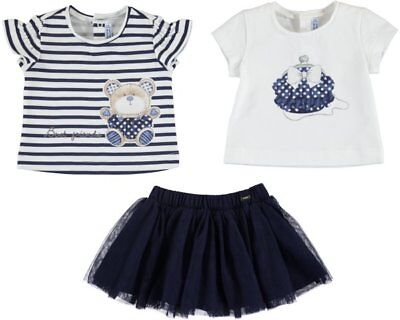 âgés de 18,24,36 mois Mayoral bébé fille 3 pièces Jupe Set en Bleu Marine 01951-078