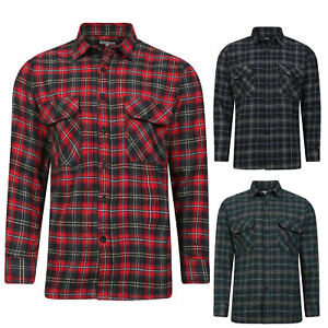 NEW-FLANNEL-BRUSHED-COTTON-MENS-SHIRT-LUMBERJACK-CHECK-LONG-SLEEVE-WORK-SHIRTS