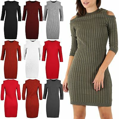 Diszipliniert Womens Ladies Rib Knitted Cold Cut Out Shoulder Long Sleeve Bodycon Mini Dress