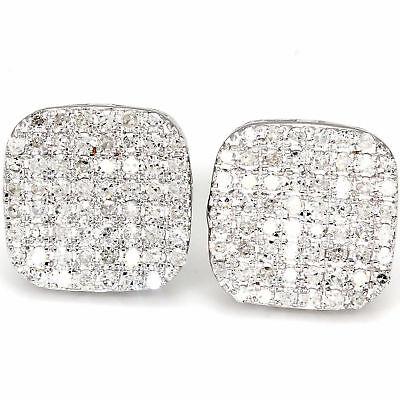 G/I1 .75 Ct. Diamond Cushion Shape Pave Studs Womens Earring 10k White Gold