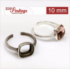 Silver adjustable ring base for swarovski square e.g. 2493 10 mm crystals P2