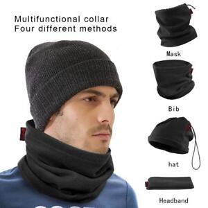 Black Fleece Neck Warmer Thermal Polar Snood Scarf Hat Ski Wear Mens ... e703a2415695