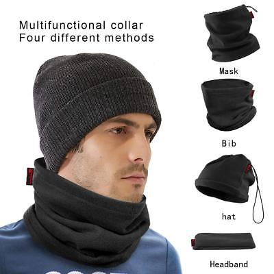 2 PCS Black Neckwarmer Thermal Polar Fleece Snood Scarf Hat Ski Wear Mens Ladies