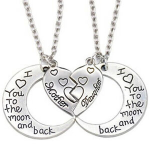 THE-MOON-AND-BACK-Mother-Daughter-Love-Heart-Pendant-Necklace-Family-Jewelry-LA