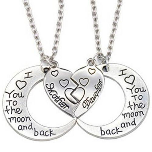 Der Mond Und Zurück Mutter Tochter Liebe Herz Anhänger Halskette Familie LMAB