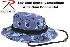 1f84d5eae54 Image is loading Sky-Blue-Digital-Camouflage-Military-Wide-Brim-Tactical-