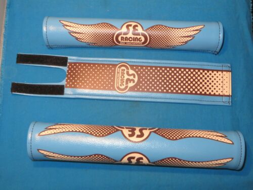 New SE Racing BMX Bicycle 3 PC Wing Pad Set Blue and Brown