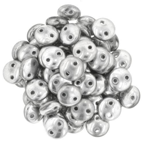 6mm CzechMates Two Hole Beads Lentil Jewellery Making  50 pcs SILVER