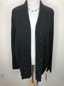 NWT-Ruby-Rd-3X-Soft-Stretchy-Black-Embellished-Open-Front-Cardigan-Sweater