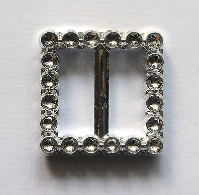 Silver Diamante Effect Ribbon Buckle Sliders For Wedding Invitation Card Making
