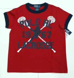 New-with-tag-Boys-RALPH-LAUREN-Red-Short-Sleeve-POLO-Lacrosse-Summer-T-Shirt-6