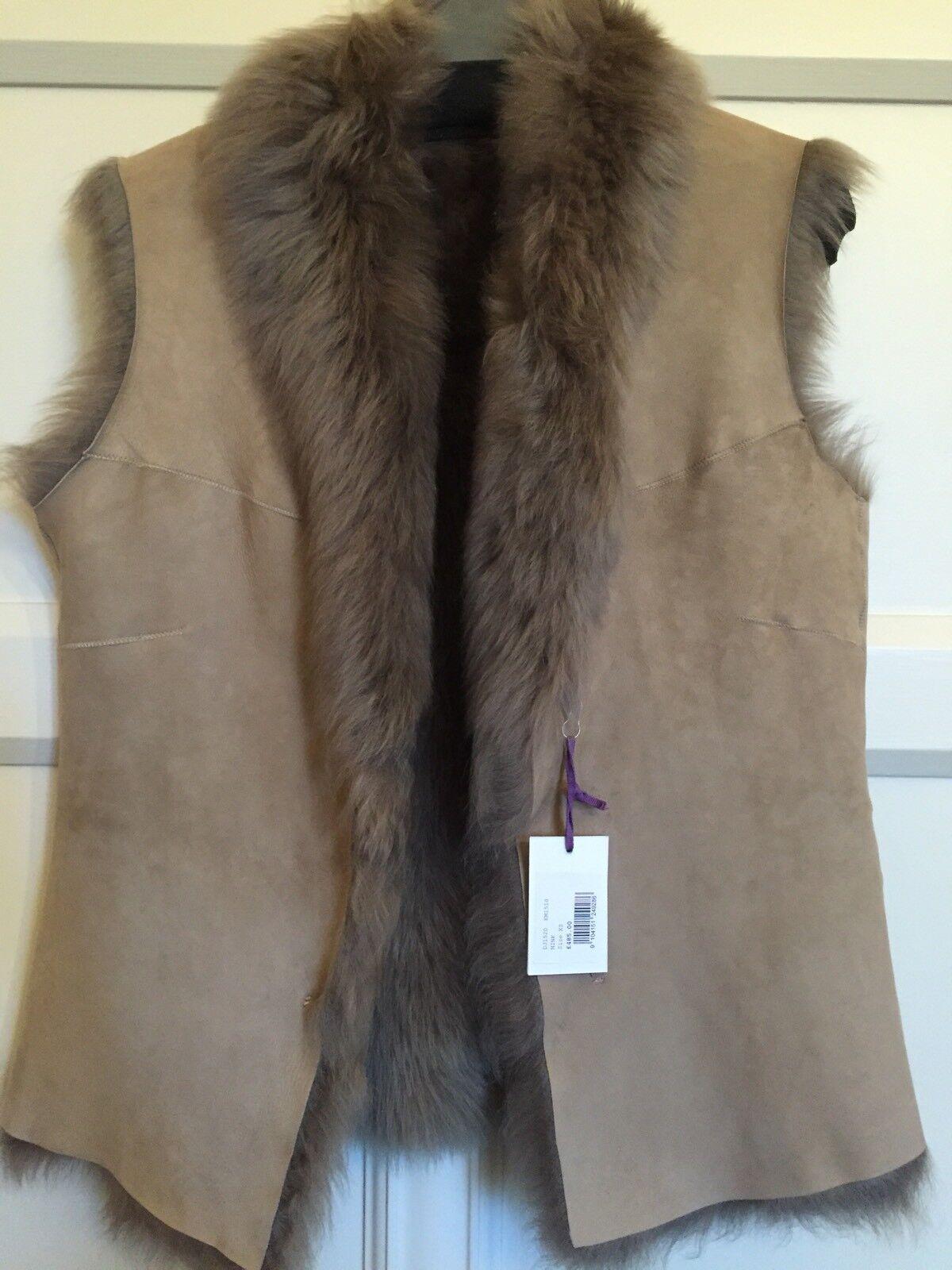 BRORA BRORA BRORA LONG HAIRED SHEEPSKIN GILET (MINK) UK XS. BRAND NEW - PRISTINE RRP 1e135c