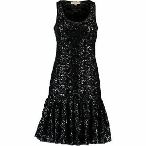 MICHAEL-KORS-Women-039-s-Lace-Sequin-Mesh-Dress-Black-size-SMALL