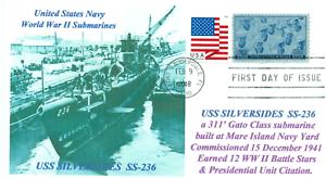 Uss-Silversides-SS-236-Ww-II-USN-Sottomarino-Photocachet-Navale-Primo-Giorno