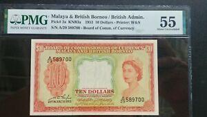 1953-MALAYA-10-A-29-589700-PMG55-AUNC