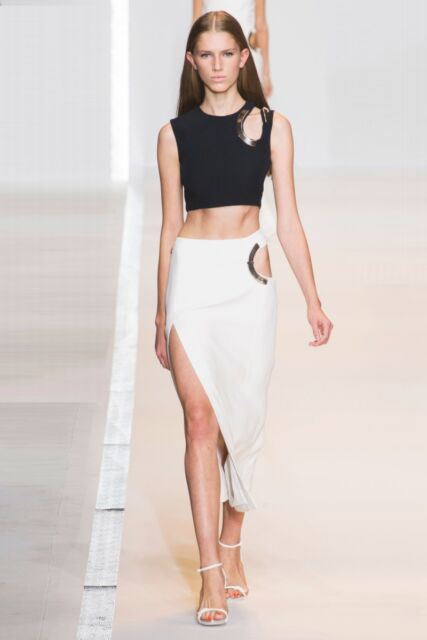 MUGLER Black Cut Out Top White Cut Out Skirt Set 38 6