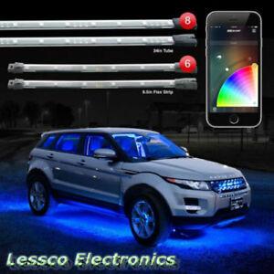 "8pc 24"" Under Glow & 6pc 10"" Flexible Strip XKchrome App Control Car LED Lights"