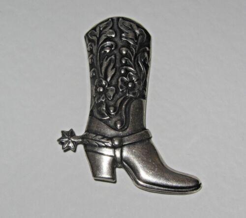 WESTERN COWBOY BOOT SILVER PLATED BROOCH TIEPIN OR LAPEL PIN ROCKABILLY LINE V50
