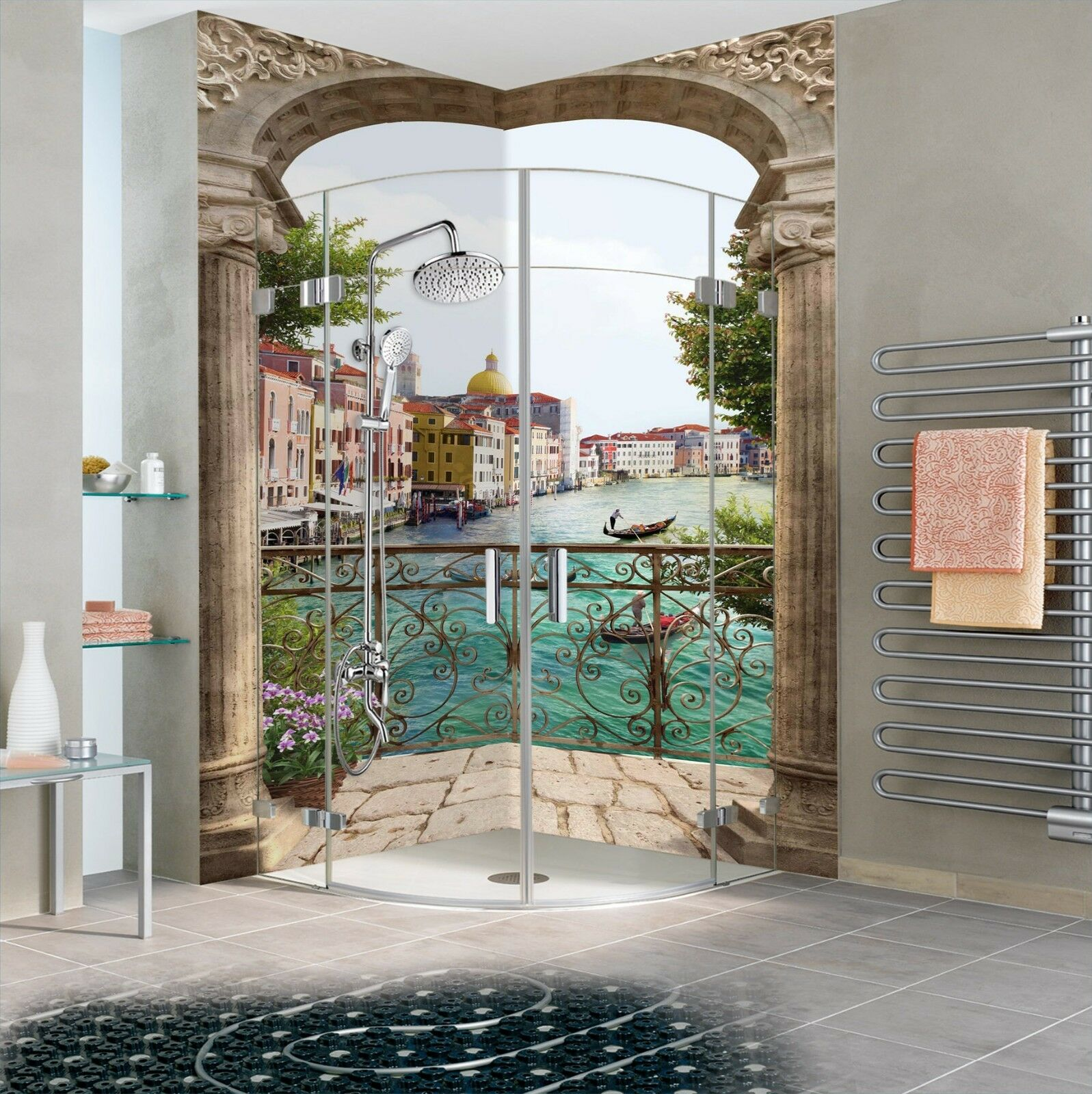 3D Water town ship 515 WallPaper Bathroom Print Decal Wall Deco AJ WALLPAPER UK