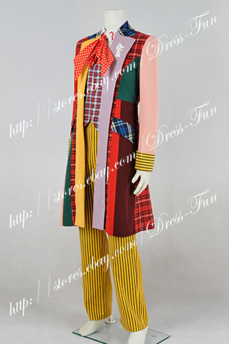 Doctor Who Cosplay Costume The 6th Dr Colorful Lattice Stripe Coat Suit Outfit