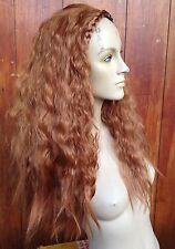 Ginger il Rame Rosso ondulato ricci crespi Puffy 3/4 Half testa parrucca di capelli lunghi Fancydress