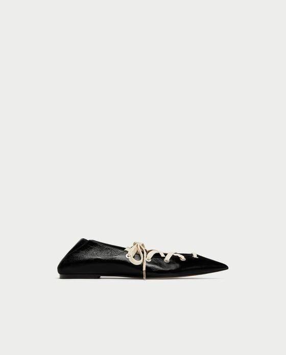 Zara mujer mula Bailarinas Con Cordones De con Cuero Negro Talla 6 EUR 36 Nuevo con De etiquetas b80078