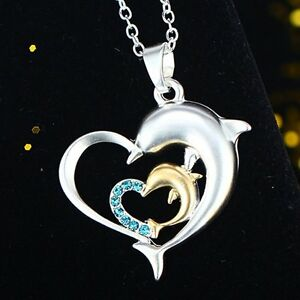 Fashion-Silver-Crystal-Love-Heart-Jumping-Dolphin-Pendant-Charm-Chain-Necklace