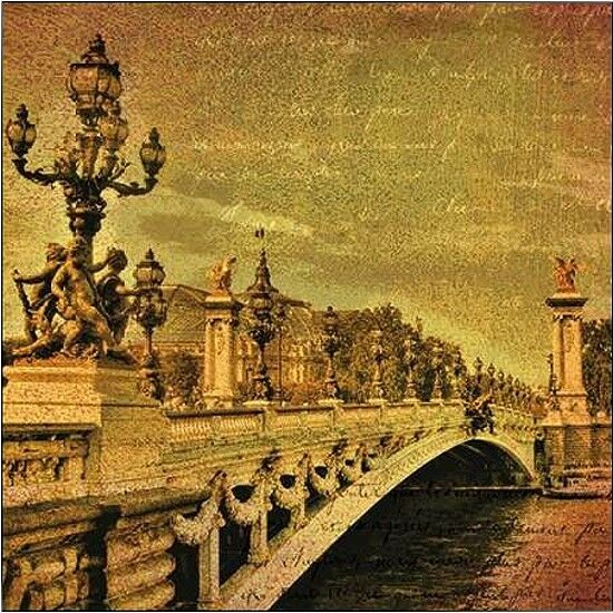 Julia Casey  Paris Romance Keilrahmen-Bild Leinwand Städte Vintage braun