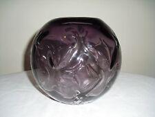 Amethyst / Purple Hand Blown Art Glass Rose Bowl / Vase - Pinched / Textured