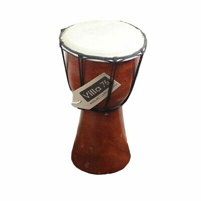 20cm High Wooden Bongo Drum with Goat Skin with Rusta Flag Painted on Base