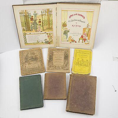 LOT of 7 RARE ILLUSTRATED ANTIQUE CHILDREN'S BOOKS ALPHABET ENGRAVINGS WOODCUTS