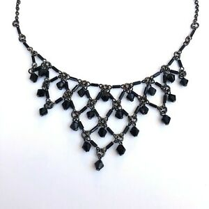 Gothic-Horror-Occult-Punk-80s-90s-Goth-Heavy-Black-Beaded-Metal-Necklace-Choker