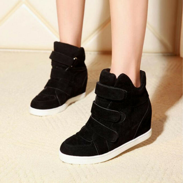 New Womens Buckle Velcro Hidden Wedge Heels High Top Ankle Boots Sneakers Shoes