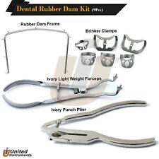 Dental Rubber Dam Kit Forceps Ivory Light Punch Plier Universal Brinker Clamps