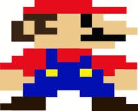 Super Mario Bros. Brothers 8 Bit Iron On T Shirt / Pillowcase Fabric Transfer