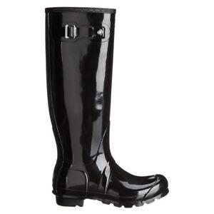 b74aa5ff393 Image is loading Hunter-Original-Tall-Gloss-Black-Wellies-Womens-Rainboots