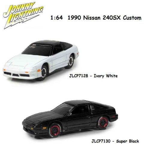 Johnny Lightning 1:64 1990 Nissan 240SX Custom Ivory White & Black (2) Cars Set