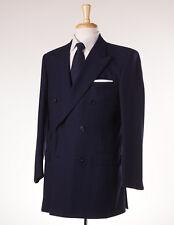 NWT $2800 GIEVES & HAWKES Navy Blue Herringbone DB Wool Suit 42 L Handmade