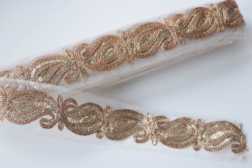 SOLD by METRE ATTRACTIVE INDIAN PAISLEY EMBROIDERY TRIM LACE ON NET WHITES