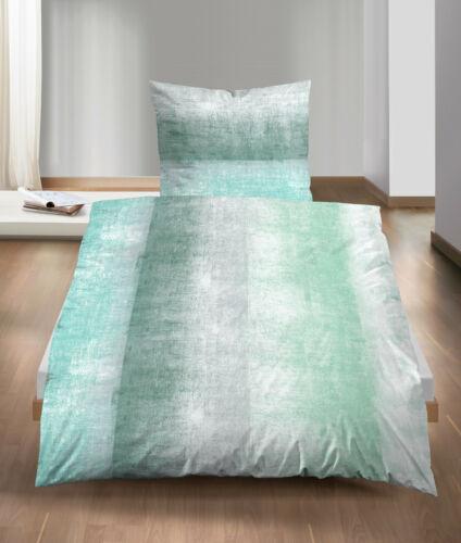 Fein Biber Baumwolle Bettwäsche 4tlg 135x200 Streifen Betonoptik grün grau