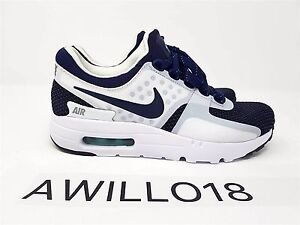 purchase cheap 91216 fa1a4 Image is loading Nike-Air-Max-Zero-QS-White-Midnight-Navy-
