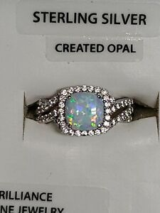 Sterling Size 7 Vintage and Faux Opal Ring Cubic Zirconium