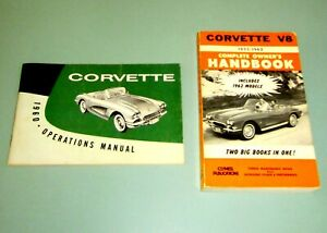 2-Books-1960-CORVETTE-V8-OPERATIONS-MANUAL-1955-1962-GM-Chevrolet-Sports-Car