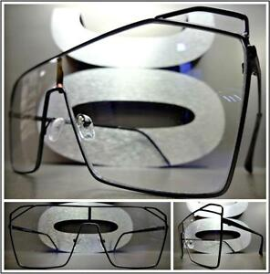 OVERSIZED VINTAGE RETRO SHIELD Style Clear Lens EYE GLASSES Black Fashion Frame