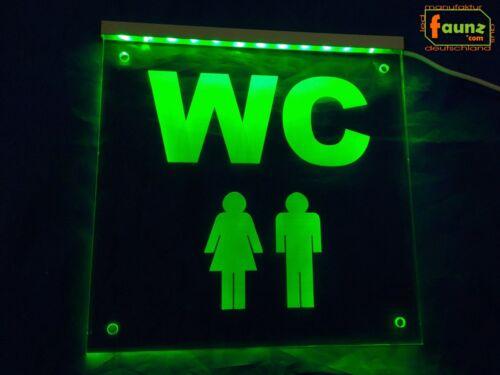 "Mann"" grün Toilette Gaststätte Lokal Hinweis ©faunz LED Leuchtschild ""WC Frau"