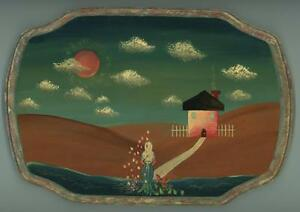 FOLK ART PAINTING WOMAN HOUSE OCEAN SAND DUNES ROSES PETALS BLUE SKY PAINTING