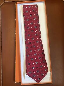 Hermes-Paris-Men-039-s-Neck-Tie-Red-Ostrich-100-Silk-Made-In-France-Vintage-NIB