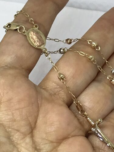 """GOLD Rosary Bracelet 14k Guadalupe Mary jesus Cross Bead Rosario solid 7.5"""""""