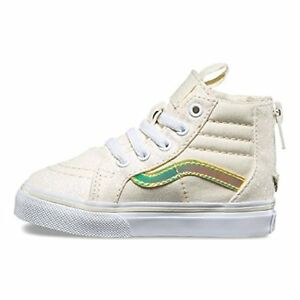 747d4b3553c4 Image is loading Vans-Sk8-Hi-Zip-Glitter-Iridescent-White-Gold-